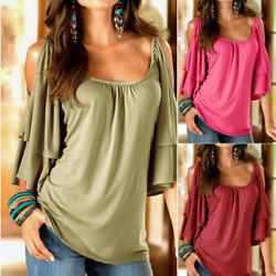 Womens Summer T Shirt Flare Short Sleeve Cold Shoulder Casual Loose Solid Blouse $13.11