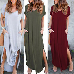 Women Summer Boho Floral Long V Neck Beach Sundress Pockets Maxi Dress Party $17.47