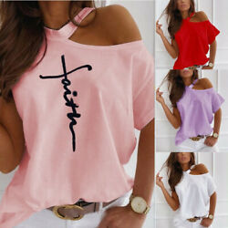 Women Summer Short Sleeve T Shirt Cold Shoulder Casual Loose Print Solid Blouse $13.93