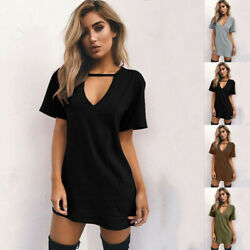 Women Summer T Shirt Sundress Casual V Neck Short Sleeve Solid Beach Mini Dress $12.29