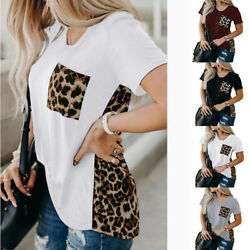 Women Summer Short Sleeve Floral T Shirt Crew Neck Casual Top Tee Leopard Blouse $13.93
