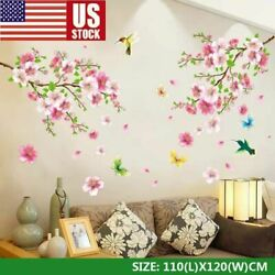 NEW Cherry Blossom Wall Decal Pink Flower Tree Wall Decal For Home DIY Decor USA $8.99