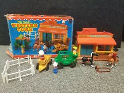 Fisher Price Vintage Little People Play Family Western Town in Box #934 $90.00
