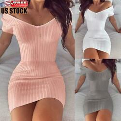 Women#x27;s Off Shoulder Bodycon Dress Mini Dress Ladies Sexy Clubwear Party Dresses $15.76