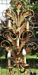 Vintage Hollywood Regency Italian Gold Gilt Metal Five Arm 29quot; Wall Sconce $24.50