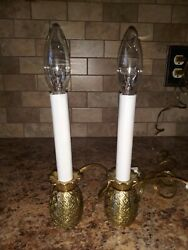 Pair of Vintage Small Brass Pineapple Lamps Lights Working Bulbs Included Taiwan $34.99