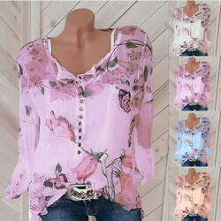 Womens V Neck Long Sleeve Floral Slim T Shirt Top Casual Button Loose Blouse Tee $11.17