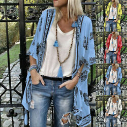 Womens Floral Casual Blouse Short Sleeve Kimono Cardigan Loose Shawl Tops Shirt $11.17