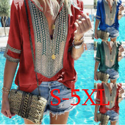 Womens V Neck Short Sleeve Summer Casual T Shirt Floral Boho Loose Blouse Tops $14.75