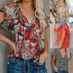 Womens Summer V Neck Short Sleeve T Shirt Floral Print Casual Blouse Loose Tops $14.07