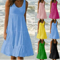 Womens Summer Sundress Crew Neck Sleeveless A Line Tank Midi Casual Beach Dress $15.03