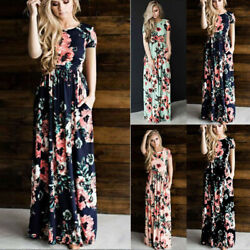 Women Summer Sleeveless Round Neck Maxi Dress Boho Floral Casual Ball Gown Dress $14.75
