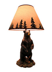 Zeckos Standing Grizzly Bear Table Lamp W Silhouette Shade $95.54