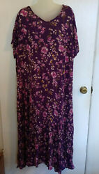 Purple Floral Maxi Dress Plus Size Womans 1X Cottagecore Boho Woman Within Rayon $14.00