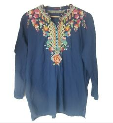Johnny was embroidered floral peasant blouse Blue Boho Medium $99.99