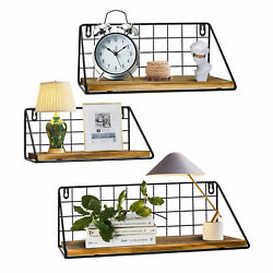 Home Decor Floating Shelves for Wall Set of 3 Wall Mounted Rustic Wood Storage $28.99