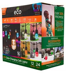 Commercial Outdoor Cafe String Lights 24#x27; 16 Color Changing 12 Bulbs with Remote