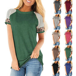Women Summer Short Sleeves T Shirt Casual Blouse Loose Pullover Plus Size Tops $13.59