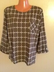 Women#x27;s Plus Size Relaxed 3 4 Sleeve Plaid Print Blouse Top 1X 2X 3X $15.99
