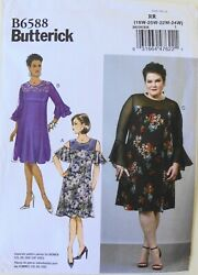 Butterick 6588 Womens Plus Dresses Sewing Pattern Sz 18W 24W $3.99