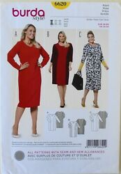 Burda 6620 Womens Plus Dresses Kleid Vestido Sewing Pattern Sz 20 34 $3.99