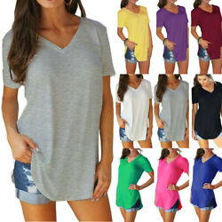 Womens V Neck Short Sleeve Tunic T Shirt Solid Loose Blouse Casual Summer Tops $12.93