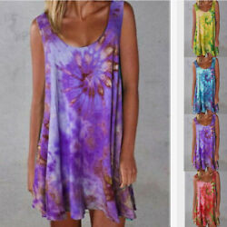 Womens V Neck Sleeveless Tie dye Print Summer Loose Dress Casual Beach Sundress $13.99