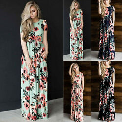 Womens O Neck Short Sleeve Maxi Summer Dress Boho Floral Casual Slim Gown Dress $16.49