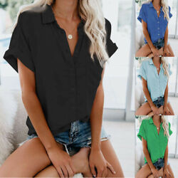 Womens Casual Short Sleeve Summer Button T Shirt Solid Plus Size Blouse Tops $14.49