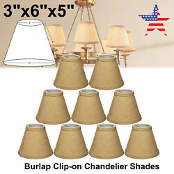 1 9PCS 6 Inch Burlap Chandelier Mini Lamp Shades Hardback 3quot;x6quot;x5quot; Clip On $13.29