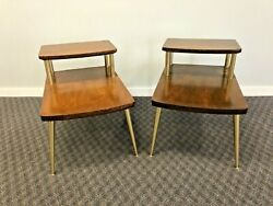 Mid Century Modern STEP TABLE PAIR vintage side end accent retro 60s LANE $399.99