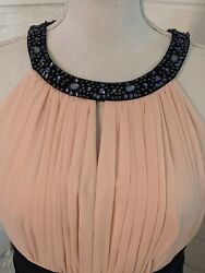 Jake#x27;s Cocktail Size S M Halter Dress Beaded Neck Light Pink Dark Blue $45.00