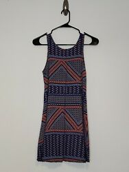 Aeropostale Size Small Lace Up Back Sleeveless Spring Summer Dress Blue Red $10.99