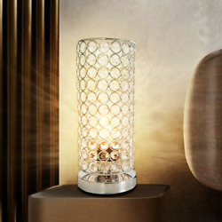 NEW Bedside Lamp Table Lamp Metal Silver lamp Shade for Living Room Bedroom USB $46.55