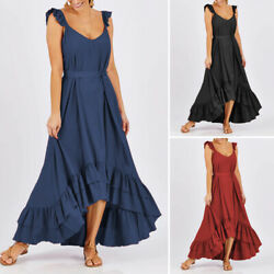 US Womens Frill Ruffled Summer Beach Holiday Asymmetric Holiday Dress Maxi Plus $16.99