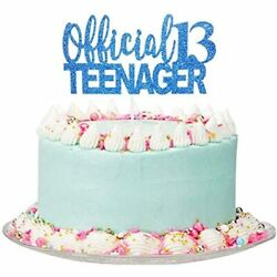 Royal Blue Giltter Official Teenager 13 Cake Topper 13th Birthday Party For $14.09