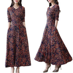 Womens Floral Printed Long Sleeve Maxi Dress Casual Evening Party V Neck Dresses $16.05