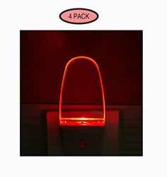 4 Pack Auto Nightlight Lamp with Dusk to Dawn Sensor for Bedroom Plug in Red $21.35