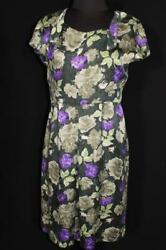 RARE FRENCH VINTAGE 1960#x27;S GREEN SILK FLORAL PRINT DRESS SIZE 8 $114.75