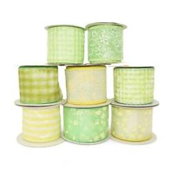 35 Yards Partial Spools Spring Green Yellow Coordinating Wired Ribbon Lot 2 1 2quot; $23.00