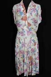 RARE FRENCH VINTAGE WWII ERA 1940#x27;S FLORAL SILKY RAYON PRINT DRESS SIZE 10 12 $242.25