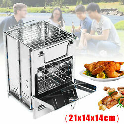 Outdoor Mini Foldable Grill Stainless BBQ Stove Portable Wood Lightweight Picnic $20.69