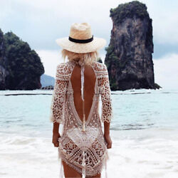 Women Bathing Suit Cover Up Crochet Lace Boho Dress Summer Beach Bikini Sundress $15.99