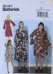 Butterick 6481 Womens Plus Dresses Sewing Pattern Sz 18W 24W $3.99
