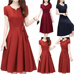 Women#x27;s Casual Short Sleeve Swing Midi Dress Holiday Party Formal Cocktail Gown $18.61