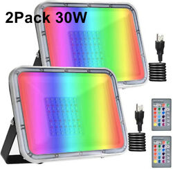 2x 30W RGB LED Flood Light Outdoor Lighting with Remote Control Memory Function