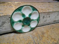 French Vintage Majolica OYSTER PLATE LONCHAMP FRANCE $52.00
