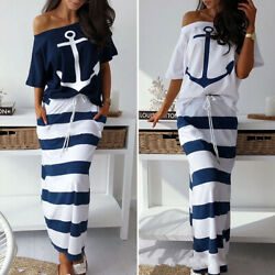 Women Ladies Casual Sexy Boho Sailor Slim Long Maxi Dress Summer Sundress Party $31.99