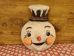 Retro Snowman Wood Cutout Johanna Parker Christmas Vintage Decor $18.00