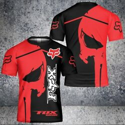 Fox Racing Red Punisher Skull 3D T Shirt Size US S 5XL $25.99